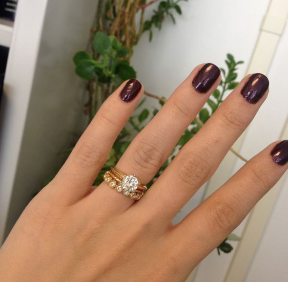 The ring is lovely and I mix it with other pieces. The gold color is a beautiful rich hue and nicer than other gold stack rings I've seen that are more expensive. Date published: