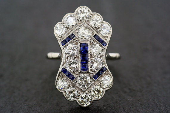 Art Deco | Great Gatsby inspired engagement ring | diamonds and sapphires