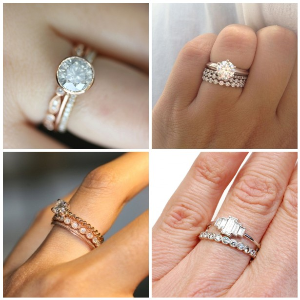 stacked wedding ring inspiration say yes events - Stacked Wedding Rings
